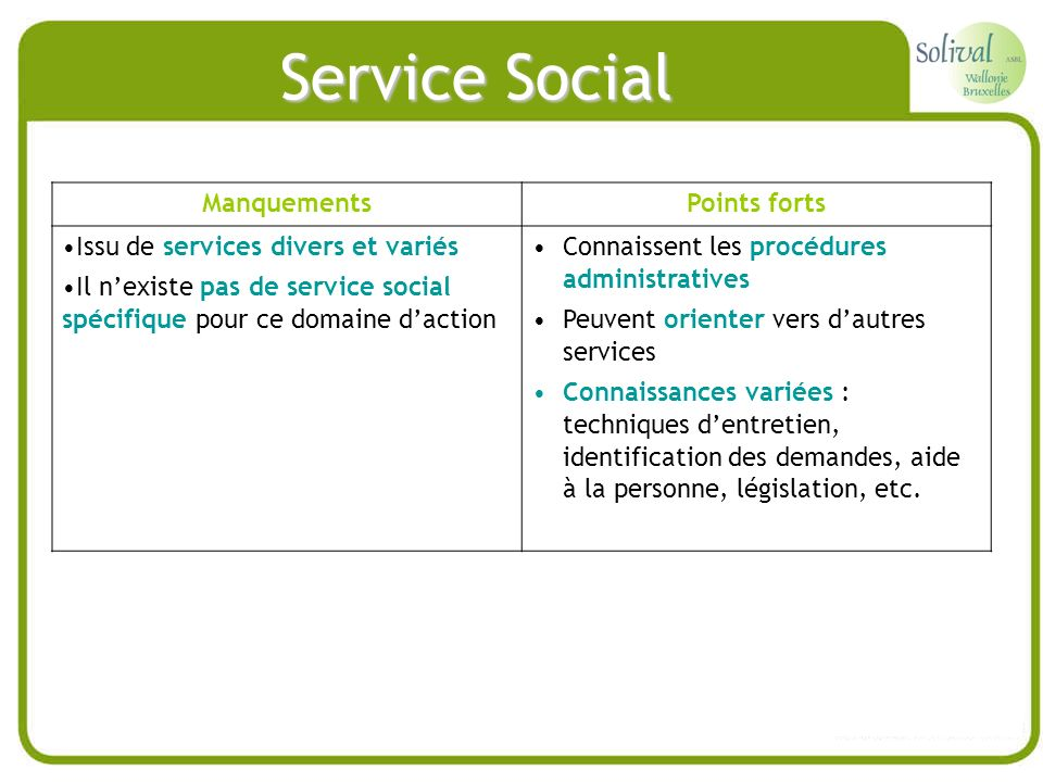 Service Social Manquements Points forts