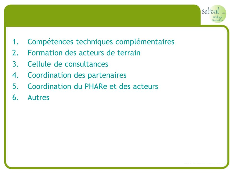 Compétences techniques complémentaires