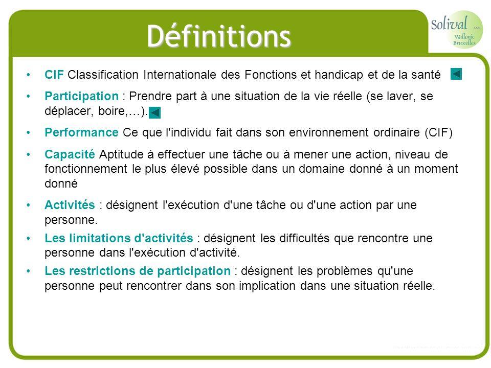 Définitions CIF Classification Internationale des Fonctions et handicap et de la santé.
