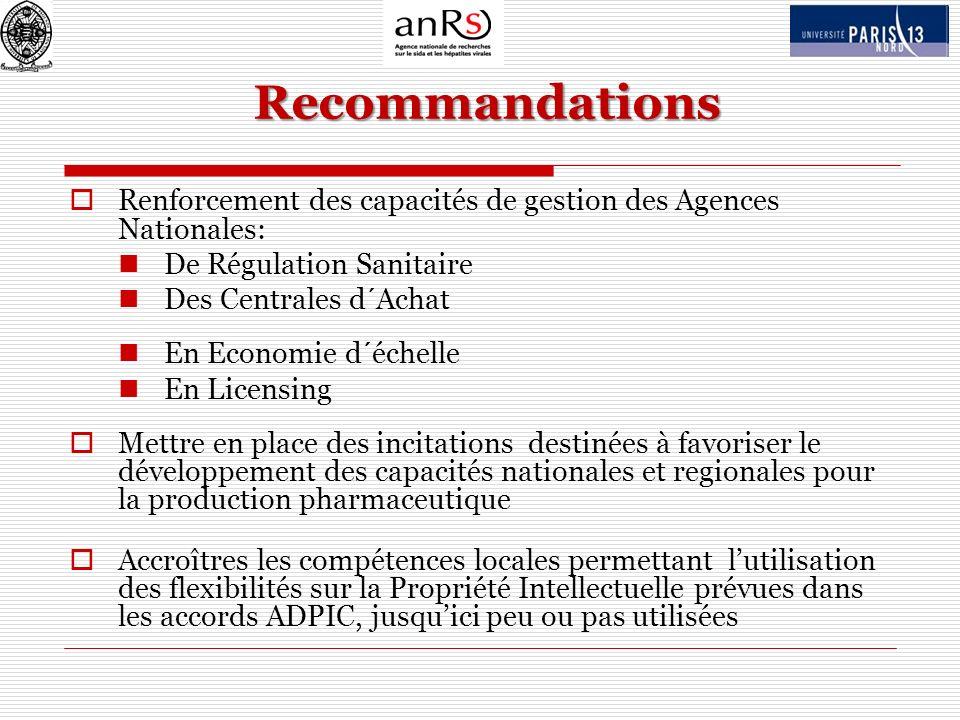 Recommandations Renforcement des capacités de gestion des Agences Nationales: De Régulation Sanitaire.