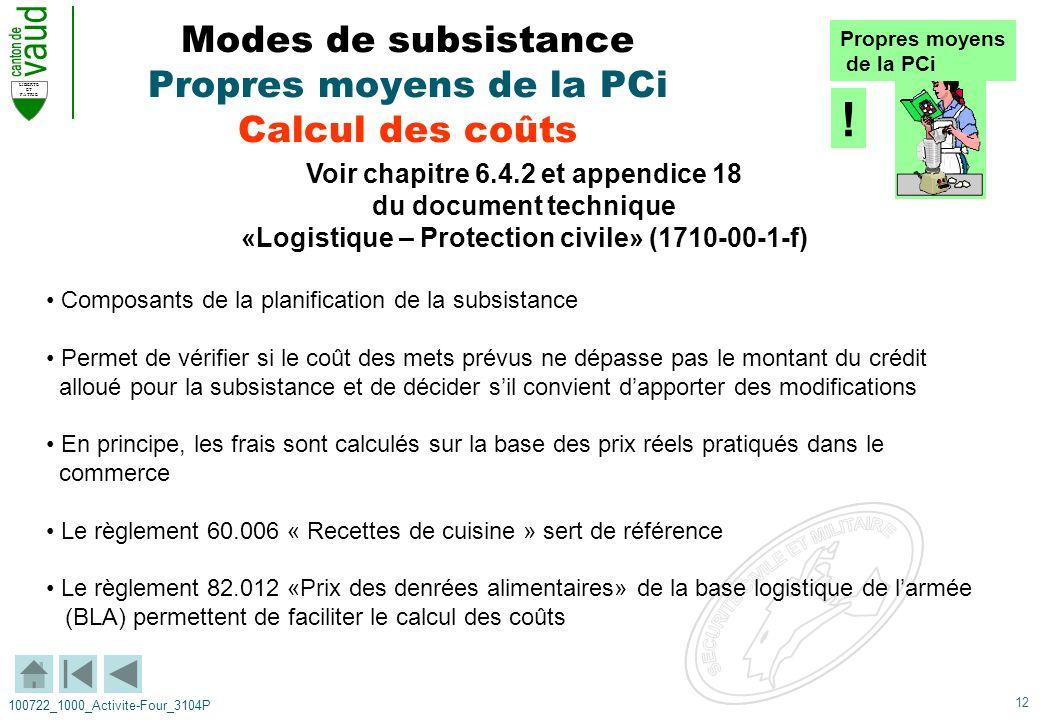 Modes de subsistance Propres moyens de la PCi Calcul des coûts