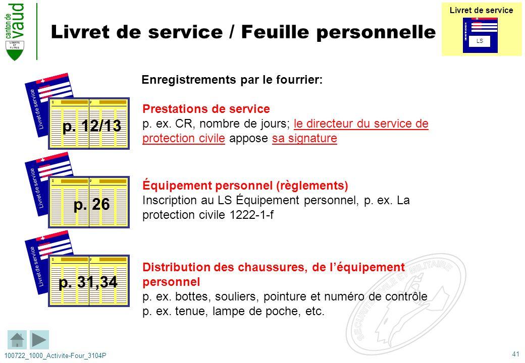 Livret de service / Feuille personnelle