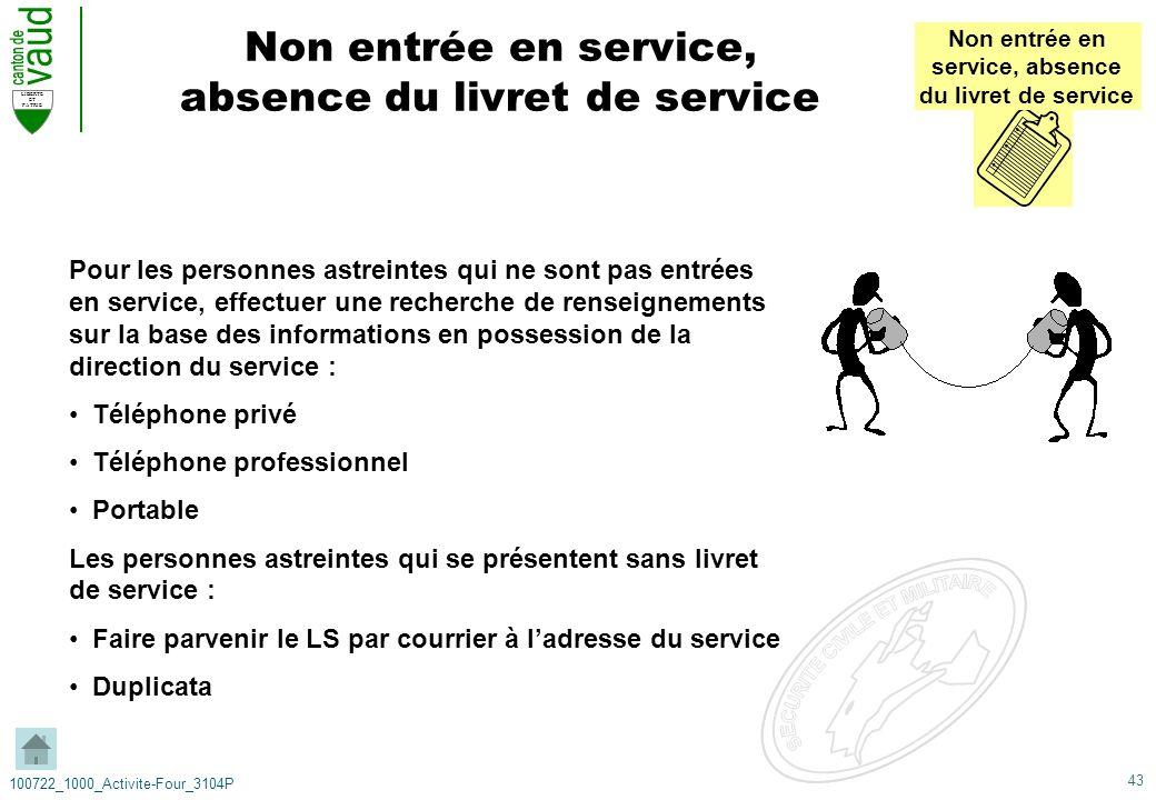 Non entrée en service, absence du livret de service