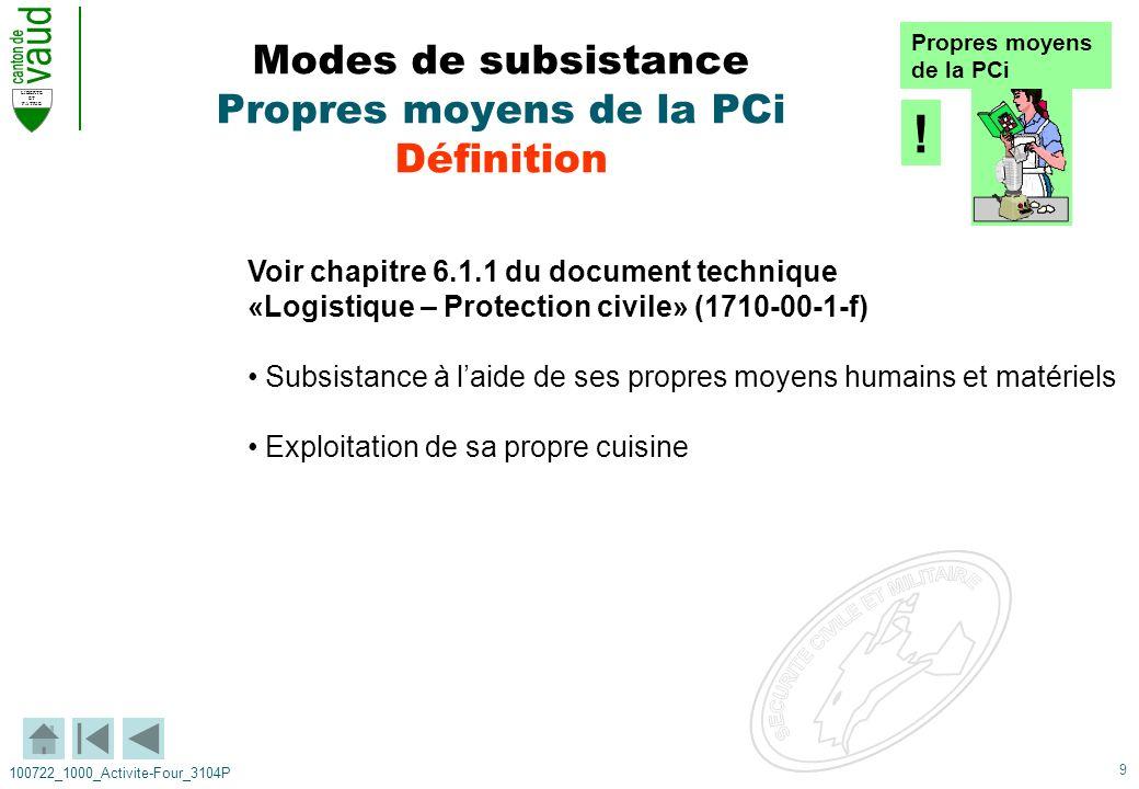 Modes de subsistance Propres moyens de la PCi Définition