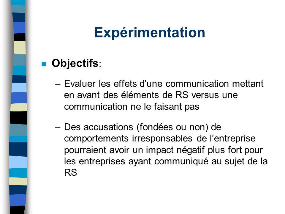 Expérimentation Objectifs: