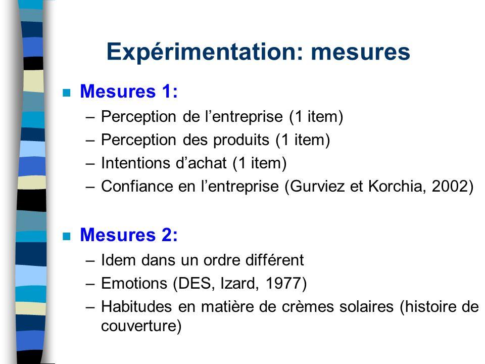Expérimentation: mesures