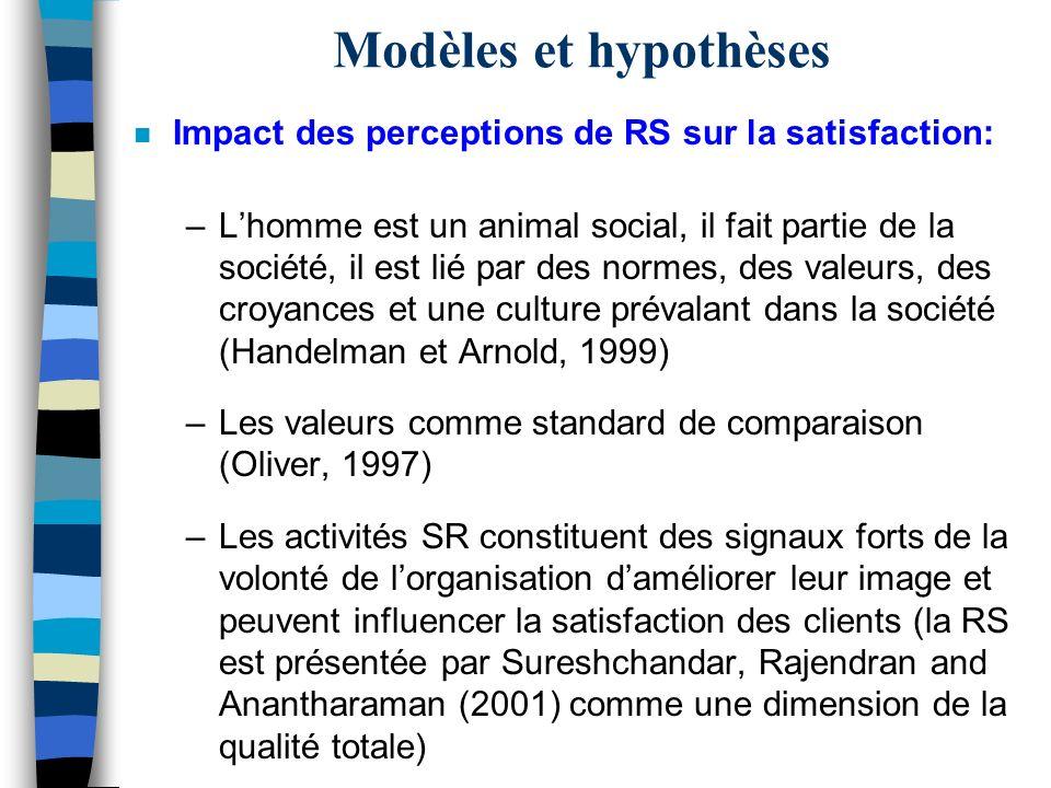Modèles et hypothèses Impact des perceptions de RS sur la satisfaction: