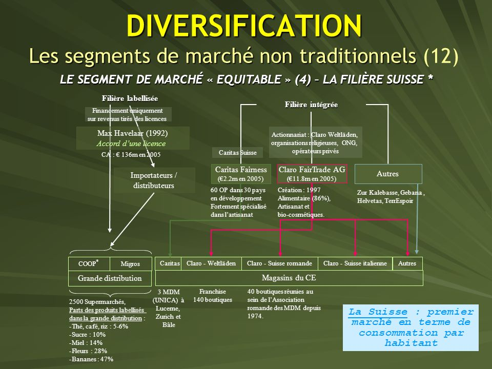 DIVERSIFICATION Les segments de marché non traditionnels (12)
