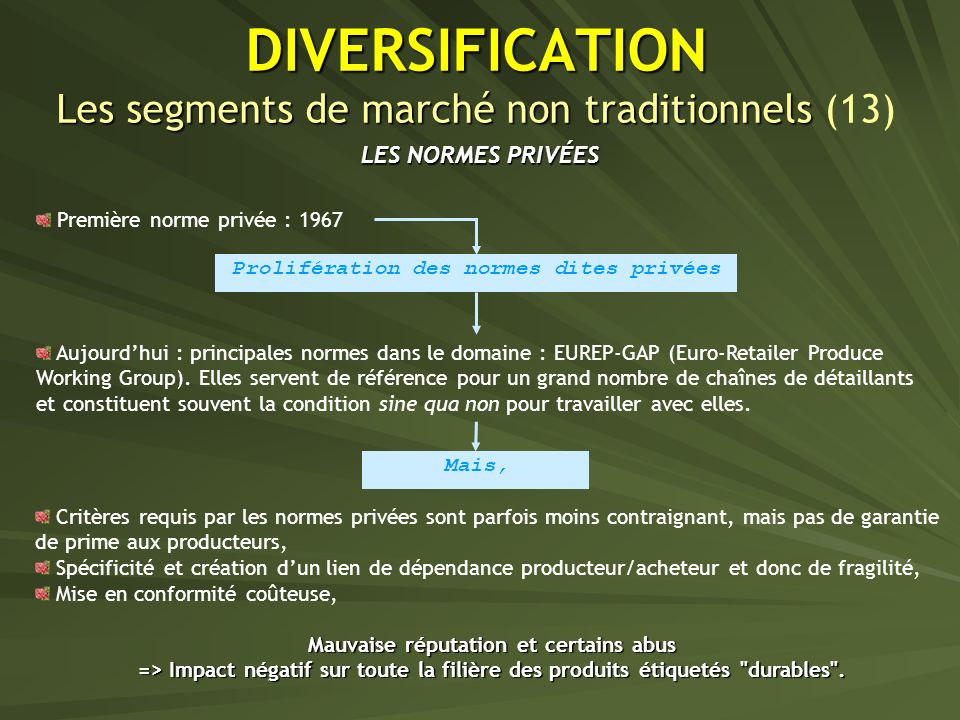 DIVERSIFICATION Les segments de marché non traditionnels (13)