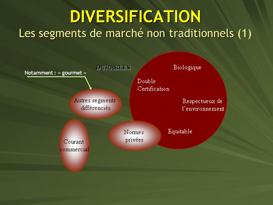 DIVERSIFICATION Les segments de marché non traditionnels (1)