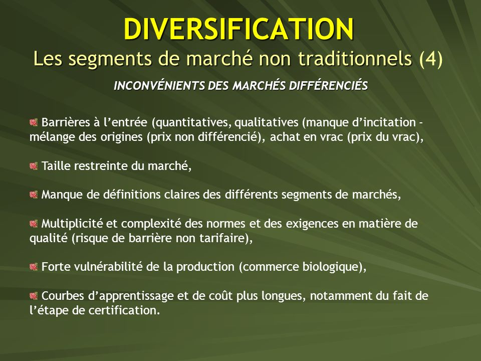 DIVERSIFICATION Les segments de marché non traditionnels (4)