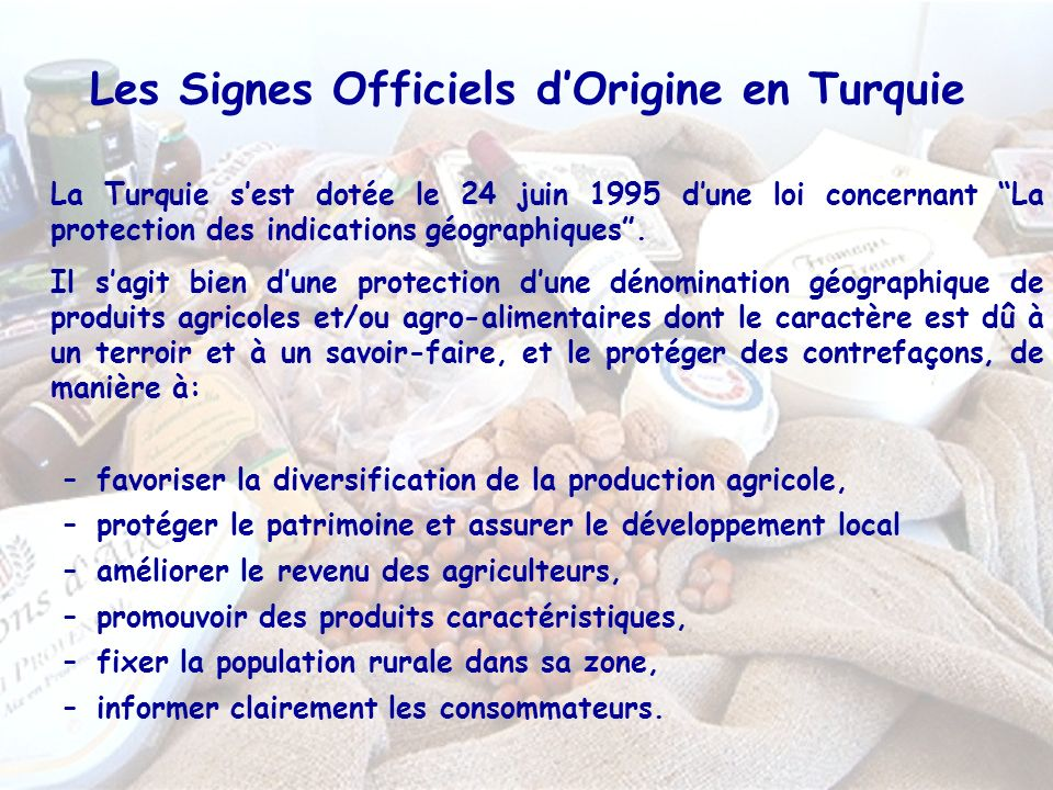 Les Signes Officiels d'Origine en Turquie