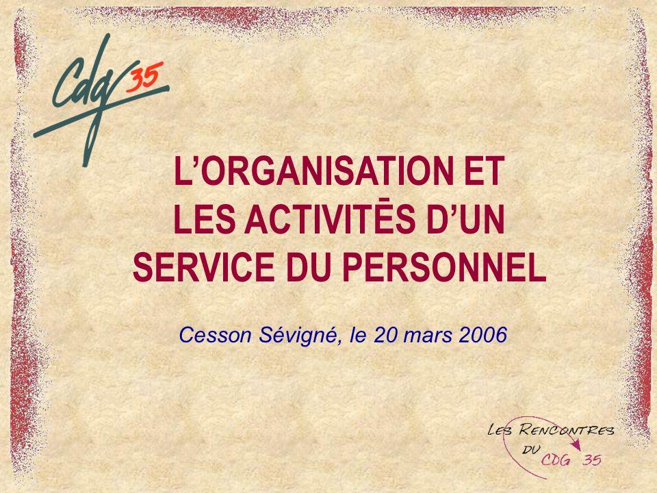 L'ORGANISATION ET LES ACTIVITĒS D'UN SERVICE DU PERSONNEL