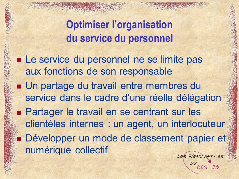 Optimiser l'organisation du service du personnel