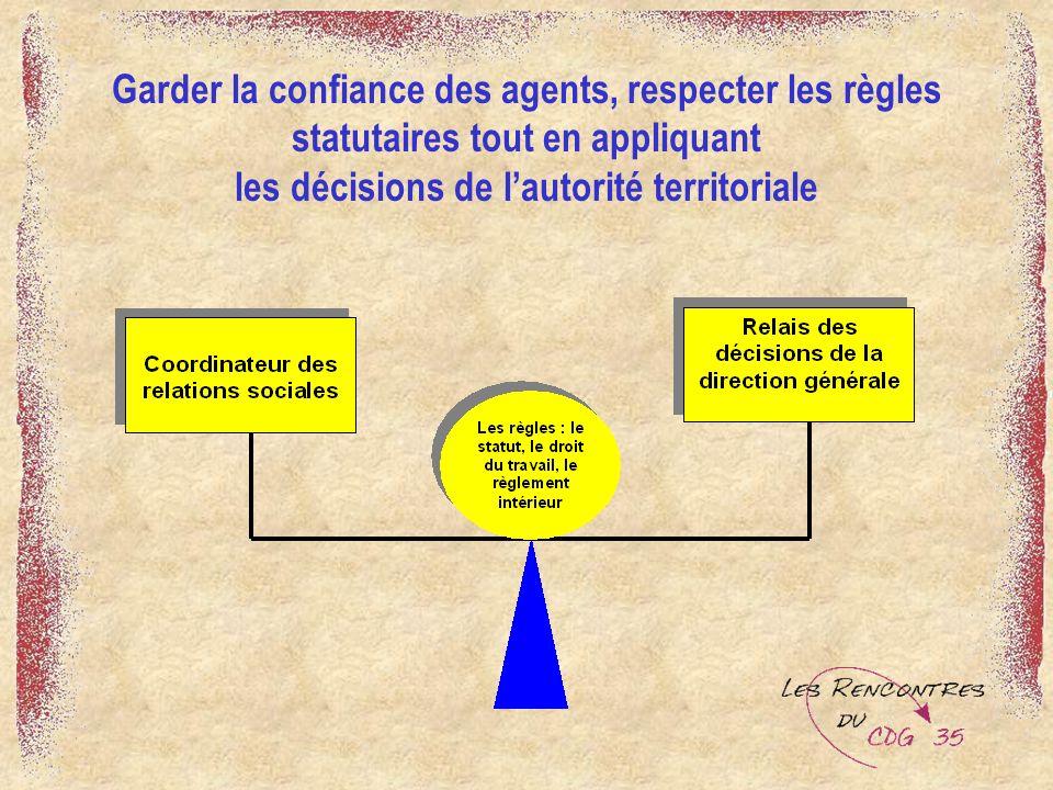 Garder la confiance des agents, respecter les règles statutaires tout en appliquant les décisions de l'autorité territoriale