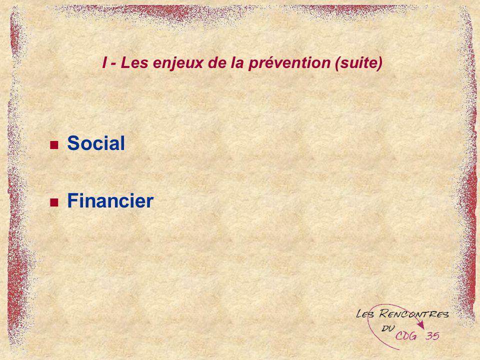 I - Les enjeux de la prévention (suite)