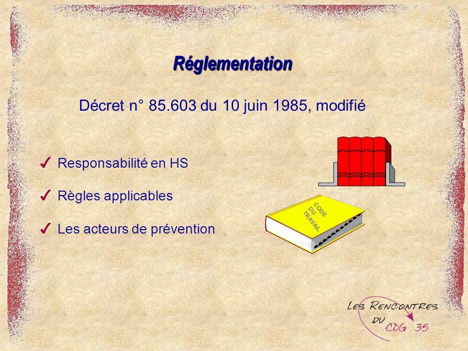 Réglementation Décret n° 85.603 du 10 juin 1985, modifié