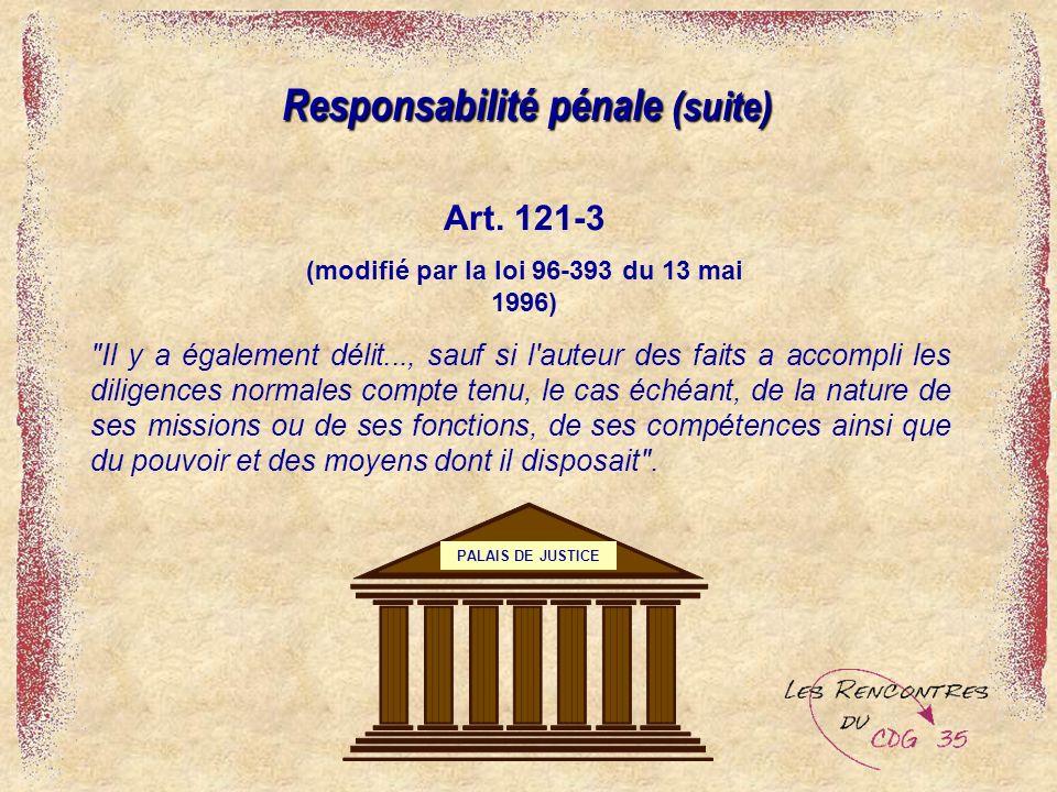 Responsabilité pénale (suite)