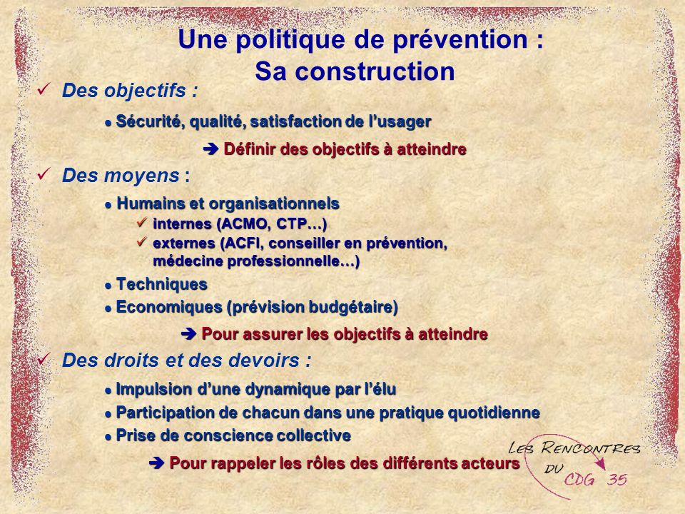 Une politique de prévention : Sa construction