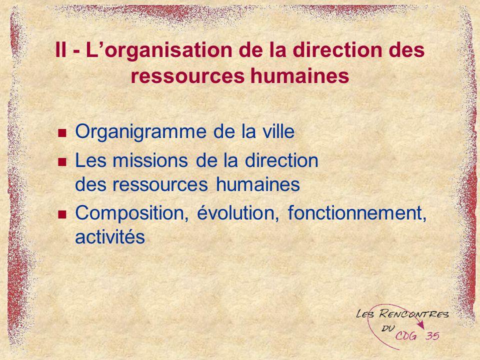 II - L'organisation de la direction des ressources humaines