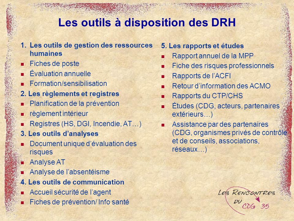 Les outils à disposition des DRH