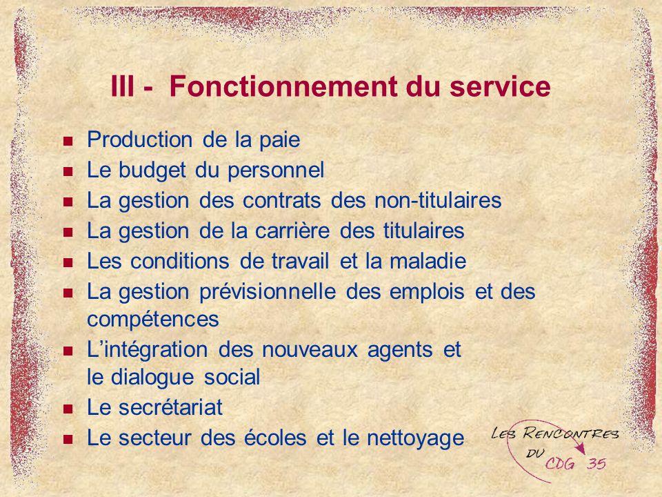 III - Fonctionnement du service