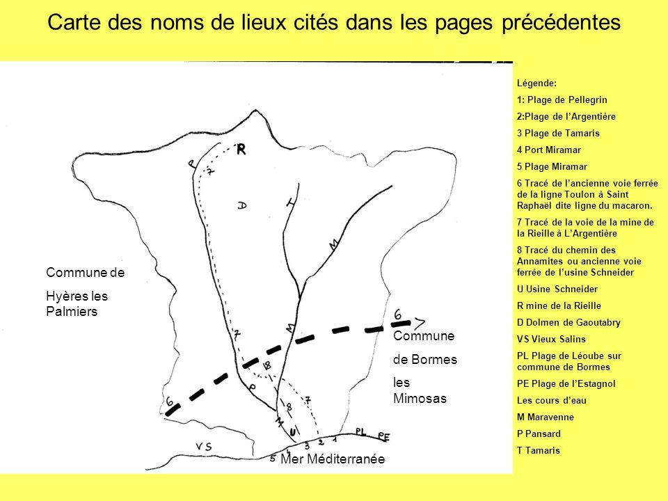 Carte des noms de lieux cités dans les pages précédentes