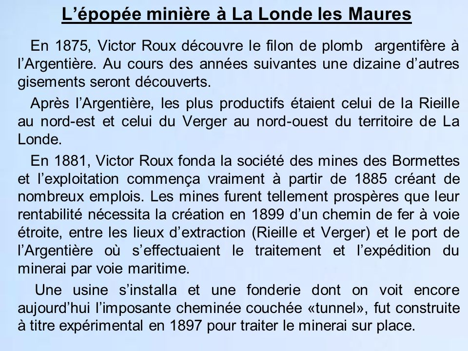 L'épopée minière à La Londe les Maures
