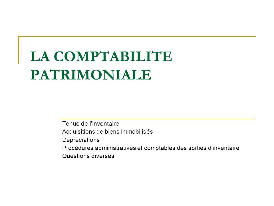LA COMPTABILITE PATRIMONIALE