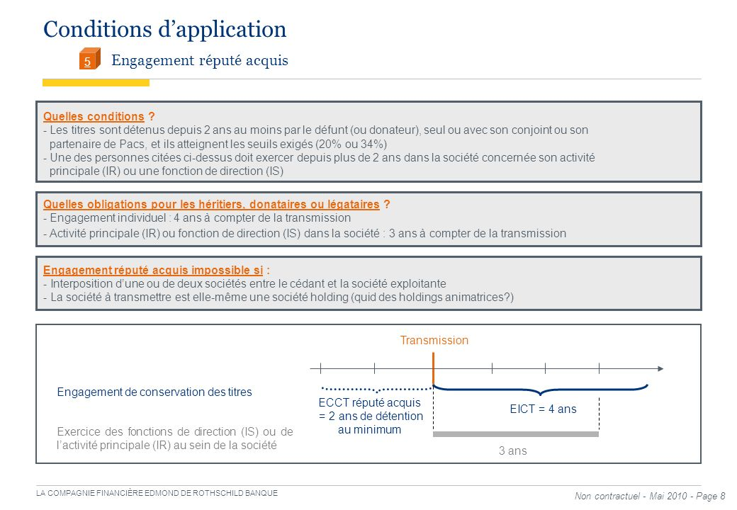 Conditions d'application Engagement réputé acquis