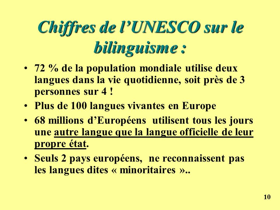 Chiffres de l'UNESCO sur le bilinguisme :