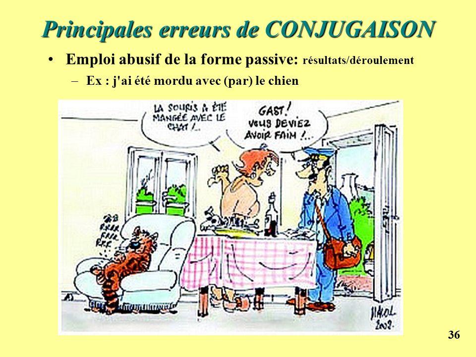 Principales erreurs de CONJUGAISON