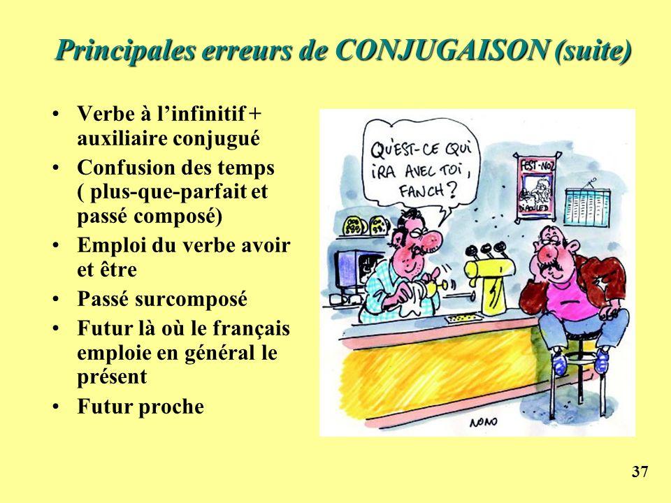 Principales erreurs de CONJUGAISON (suite)