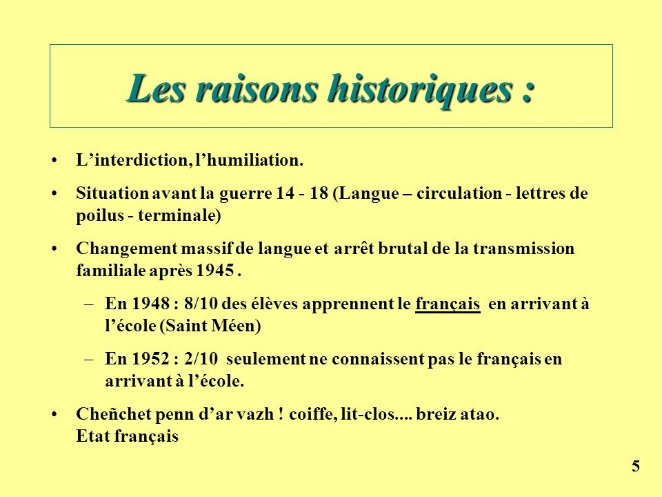 Les raisons historiques :