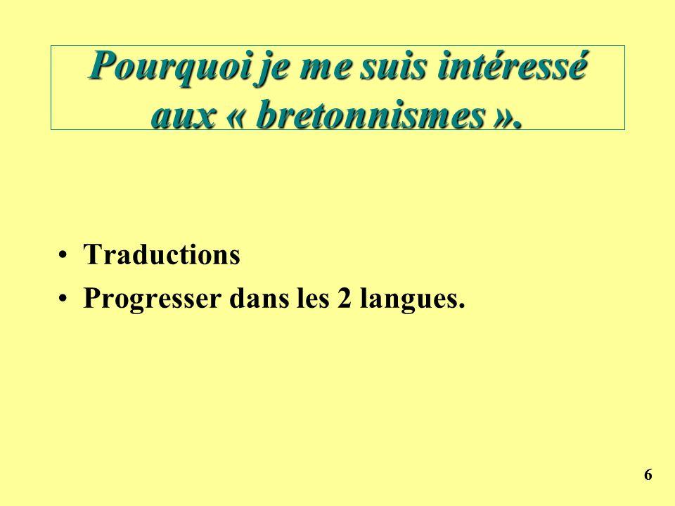 Pourquoi je me suis intéressé aux « bretonnismes ».
