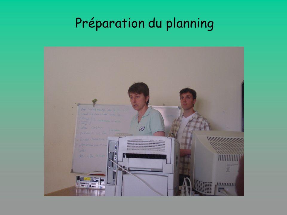 Préparation du planning