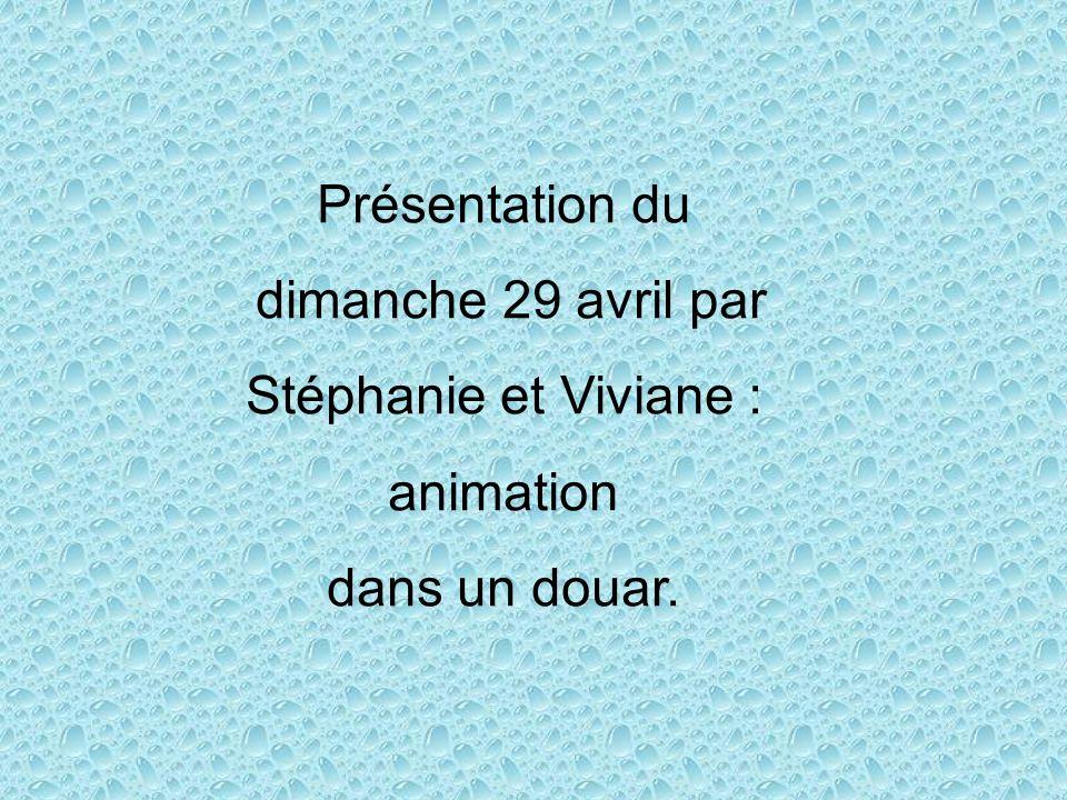 Présentation du dimanche 29 avril par Stéphanie et Viviane : animation dans un douar.