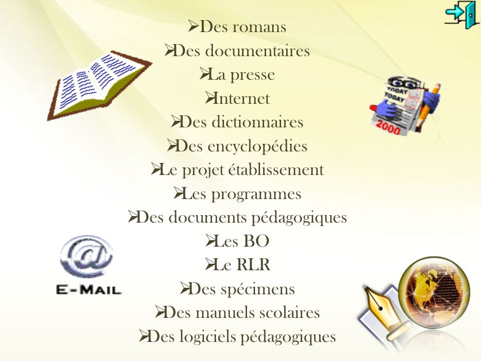 Le projet établissement Les programmes Des documents pédagogiques