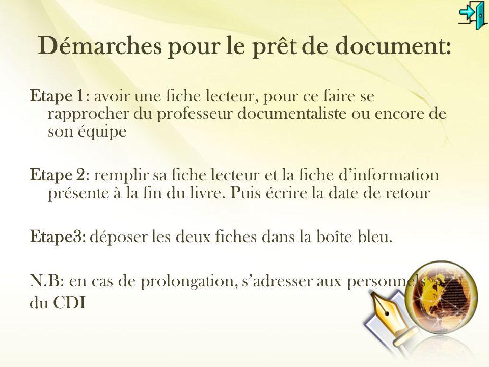 Démarches pour le prêt de document: