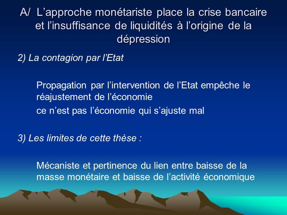 A/ L'approche monétariste place la crise bancaire et l'insuffisance de liquidités à l'origine de la dépression