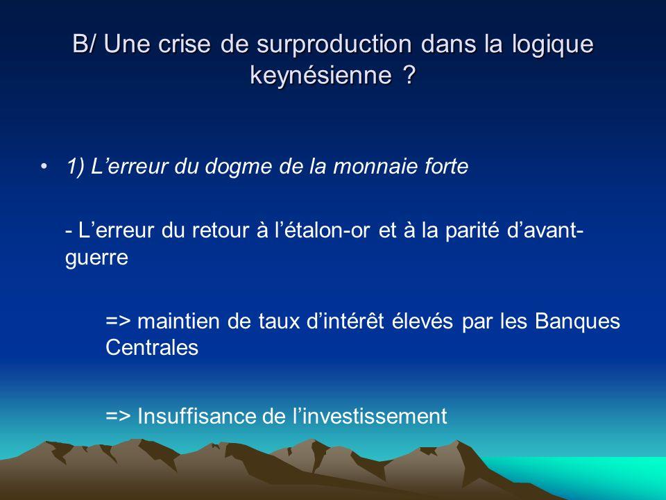 B/ Une crise de surproduction dans la logique keynésienne