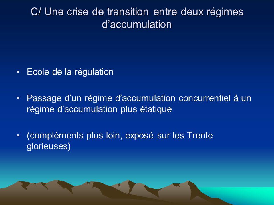 C/ Une crise de transition entre deux régimes d'accumulation