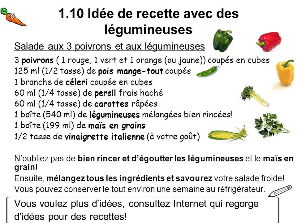 1.10 Idée de recette avec des légumineuses