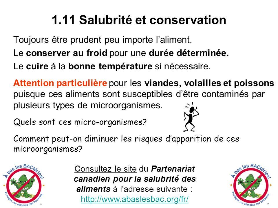 1.11 Salubrité et conservation