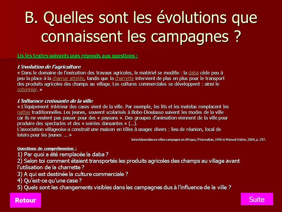 B. Quelles sont les évolutions que connaissent les campagnes