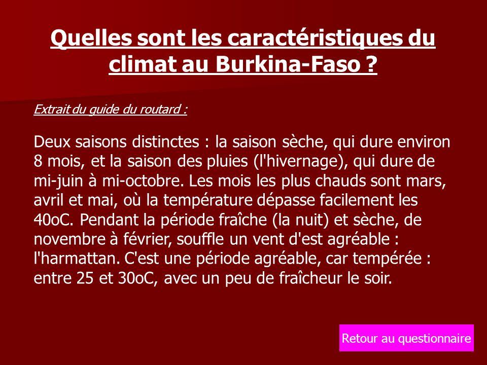 Quelles sont les caractéristiques du climat au Burkina-Faso