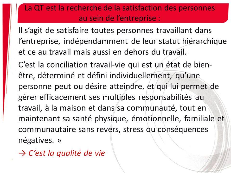 La QT est la recherche de la satisfaction des personnes au sein de l'entreprise :