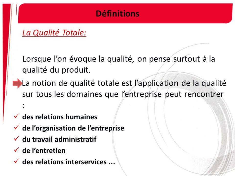 Définitions La Qualité Totale: