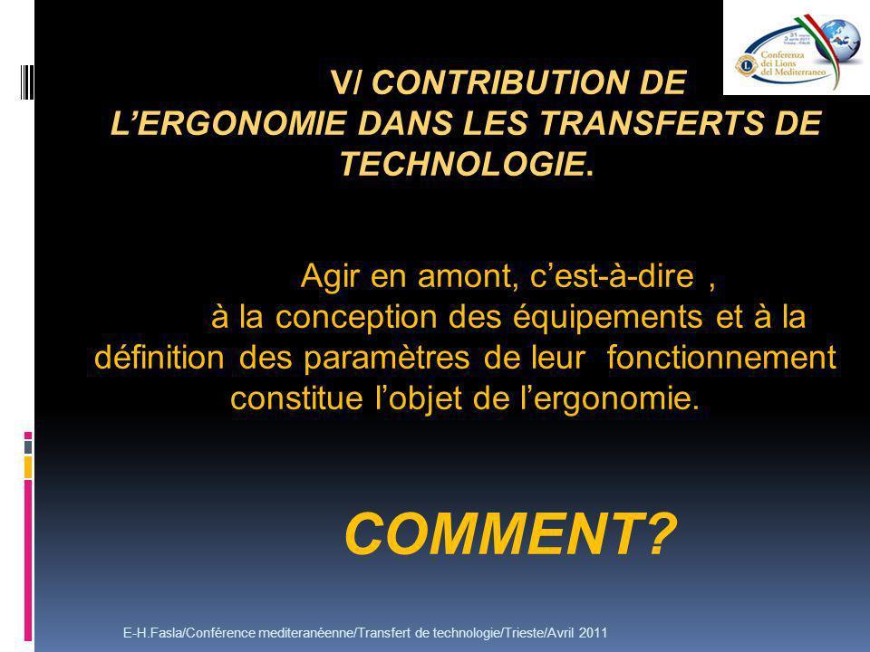 V/ CONTRIBUTION DE L'ERGONOMIE DANS LES TRANSFERTS DE TECHNOLOGIE.