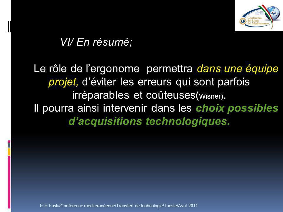 VI/ En résumé; Le rôle de l'ergonome permettra dans une équipe projet, d'éviter les erreurs qui sont parfois irréparables et coûteuses(Wisner).
